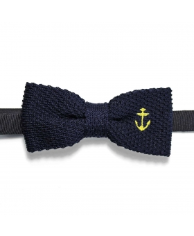 knit Bow Tie navy blue with a yellow anchor embroidery