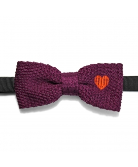 knit Bow Tie burgundy with an orange heart embroidery
