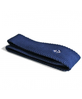 Blue Knitted Tie with white anchor embroidery