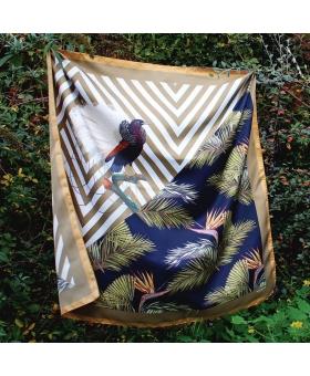 Foulard Soie motif tropical