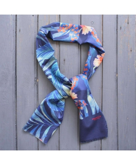 Cotton scarf with blue tropical flowers