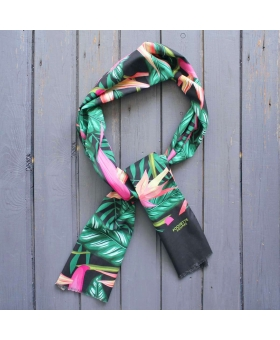 cotton scarf with tropical flowers