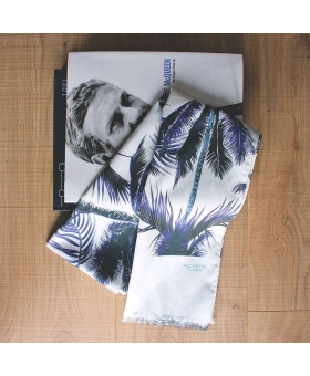 foulard en coton blanc motif palmiers