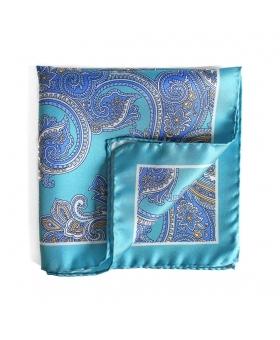 Pochette de Costume Soie Bleu Turquoise