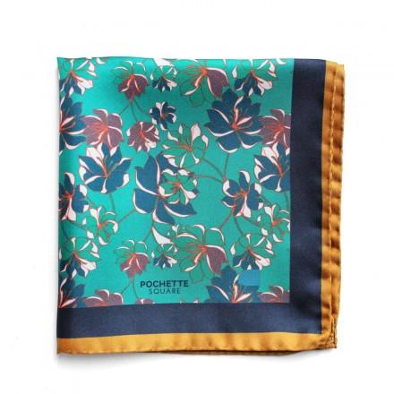 Pochette de Costume en soie fleurs bleu et vert