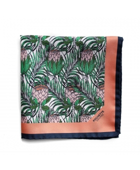 Pochette de Costume silk with tropical pattern