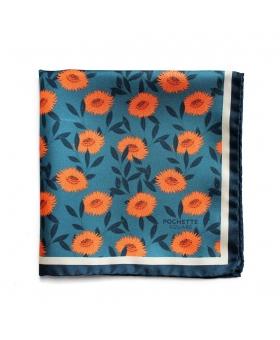 Pochette de Costume bleu à fleurs orange