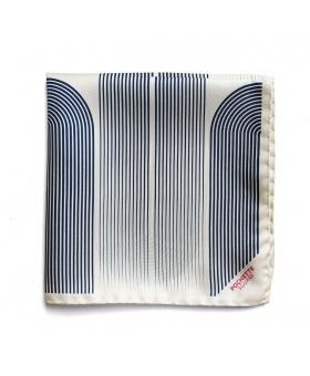 silk Pocket Square white with blue stripes