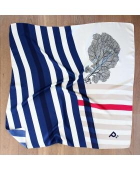 Foulard Soie rayures bleu rouge