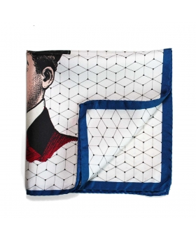 silk pocket square with vintage illustration