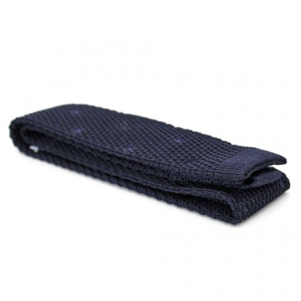 Knitted Tie navy with navy polka dots