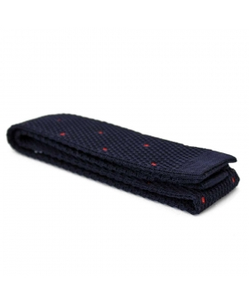 Cravate Tricot navy pois rouge