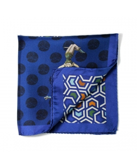 silk pocket square with blue design