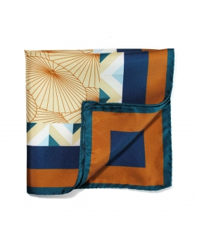 pocket square in silk with umbrellas pattern