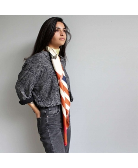 Silk scarf with stripes and sea horse