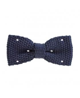 Noeud Papillon en tricot bleu marine à pois blanc