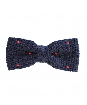 Bow Tie Navy with red polka dots