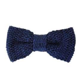 noeud papillon en tricot de coton bleu confectionn en italie. Black Bedroom Furniture Sets. Home Design Ideas