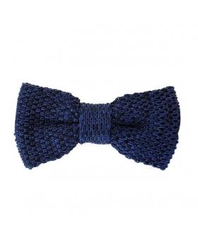 Noeud Papillon chiné tricot bleu