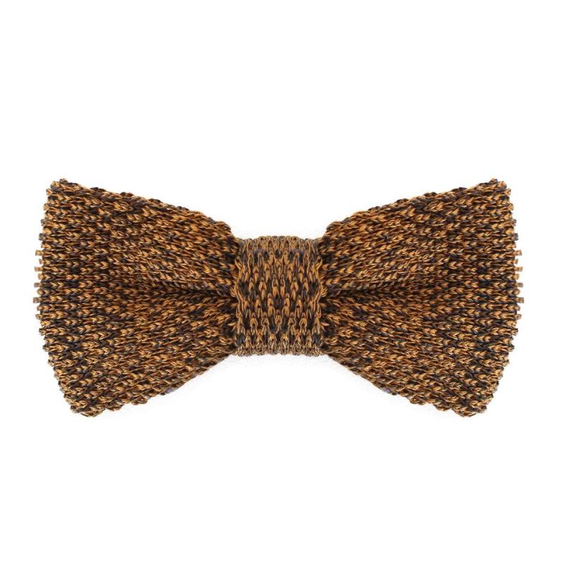 noeud papillon en tricot de coton marron confectionn en italie. Black Bedroom Furniture Sets. Home Design Ideas