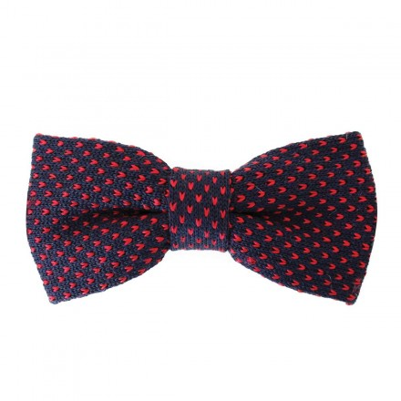 Knitted Bow Tie navy with red stitching