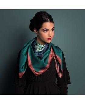 Silk scarf green and burgundy