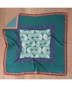 Foulard Soie vert et bordeaux design