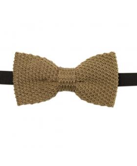 Plain Beige Knit Cotton Bow Tie