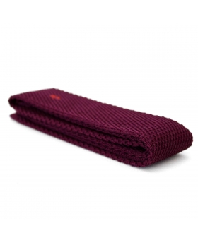 Knitted Tie burgundy with storm embroidery