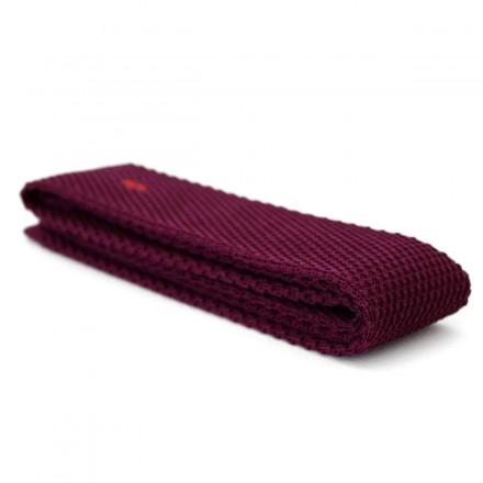 Cravate Tricot bordeaux avec broderie éclair