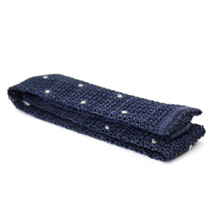 Cravate tricot bleu pois blancs