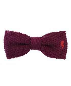 Noeud Papillon bordeaux avec broderie orange