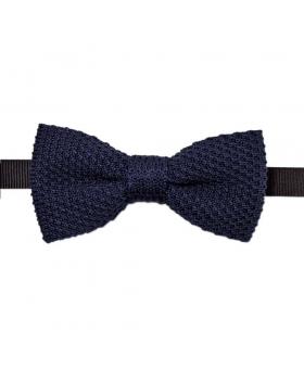 Noeud Papillon Bleu Marine Uni Tricot Coton
