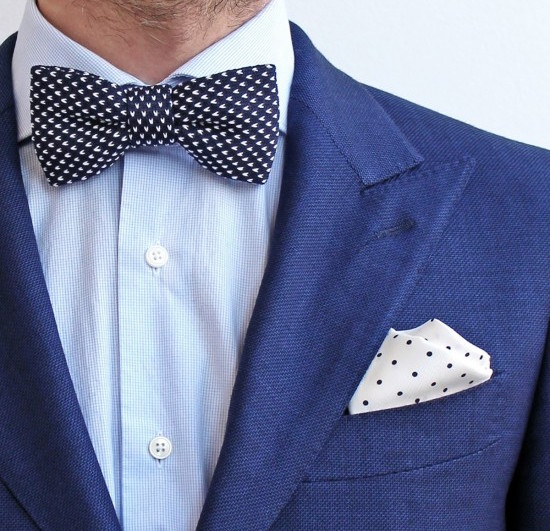 Knit Bow Tie Pocket Square Wedding Pochette Square