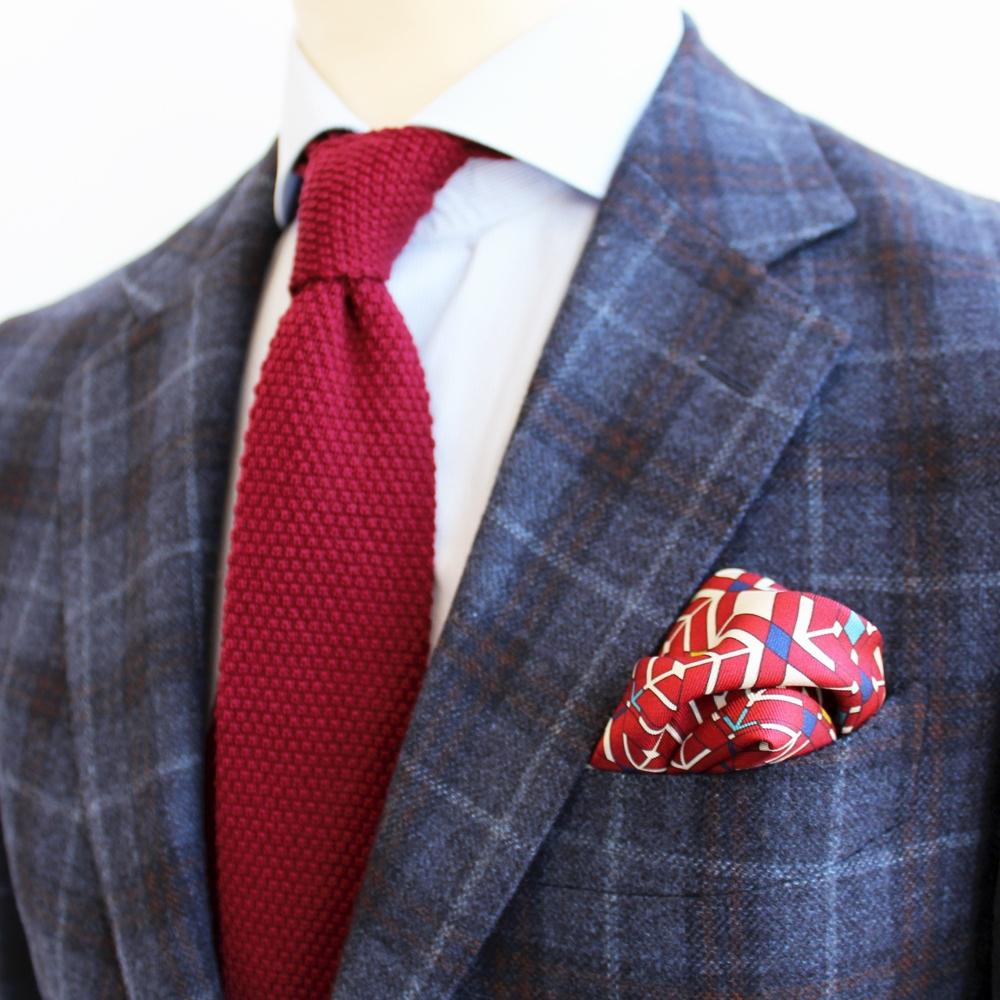 Cravate Tricot Laine Bordeaux